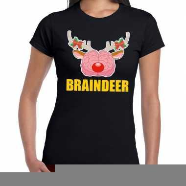 Goedkope foute kerstmis t shirt braindeer zwart voor dames