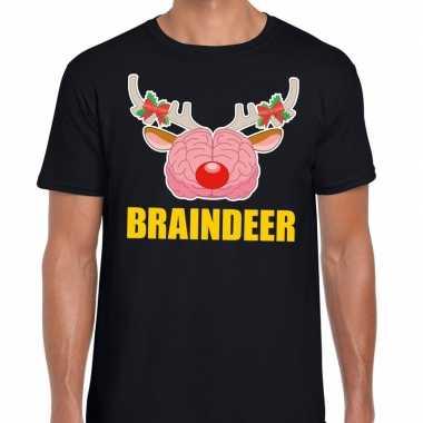 Goedkope foute kerstmis t shirt braindeer zwart voor heren