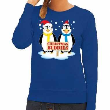 Goedkope foute kersttrui blauw met 2 pinguins voor dames