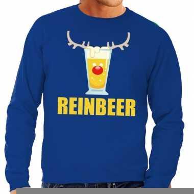 Goedkope foute kersttrui blauw met biertje heren
