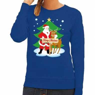 Goedkope foute kersttrui blauw met de kerstman en rudolf voor dames