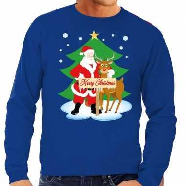 Goedkope foute kersttrui blauw met de kerstman en rudolf voor heren