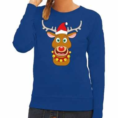Goedkope foute kersttrui blauw met ruldolf het rendier met rode muts