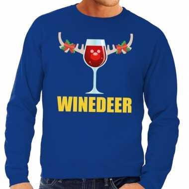 Goedkope foute kersttrui blauw met wijntje heren