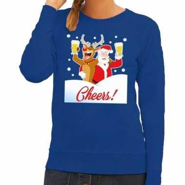 Goedkope foute kersttrui cheers met dronken kerstman en rudolf voor d