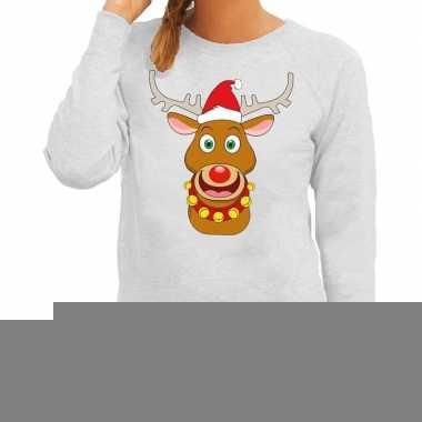 Goedkope foute kersttrui grijs met ruldolf het rendier met rode muts
