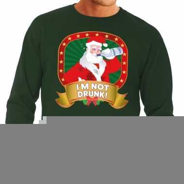 Goedkope foute kersttrui groen dronken kerstman met drankfles heren