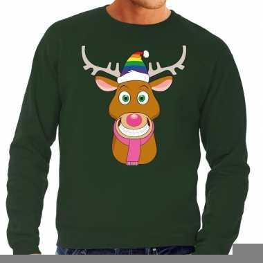 Goedkope foute kersttrui groen gay ruldolf regenboog muts en roze sja