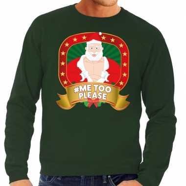 Goedkope foute kersttrui groen horny kerstman me2 please heren