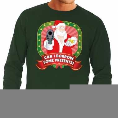 Goedkope foute kersttrui groen kerstman met pistool can i borrow some