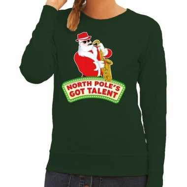 Goedkope foute kersttrui groen kerstman met saxofoon dames
