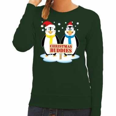 Goedkope foute kersttrui groen met 2 pinguins voor dames