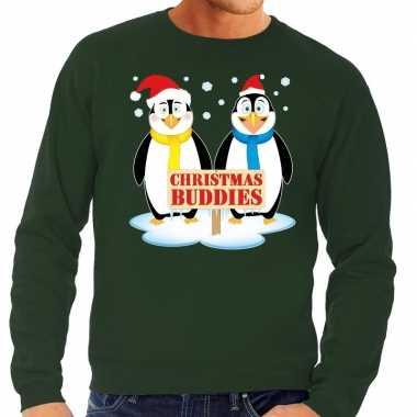 Goedkope foute kersttrui groen met 2 pinguins voor heren