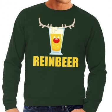Goedkope foute kersttrui groen met biertje heren