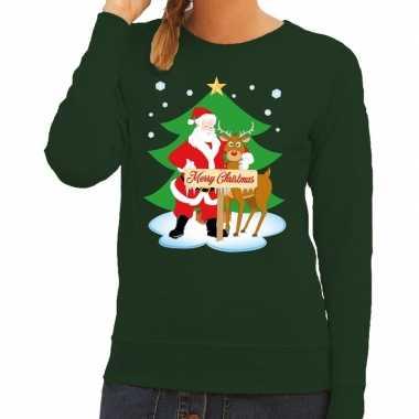Goedkope foute kersttrui groen met de kerstman en rudolf voor dames