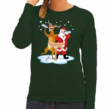 Goedkope foute kersttrui groen met een dronken kerstman en rudolf voo