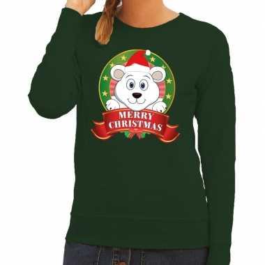 Goedkope foute kersttrui groen met ijsbeertje voor dames