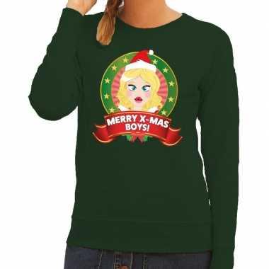 Goedkope foute kersttrui groen met kerstvrouwtje voor dames