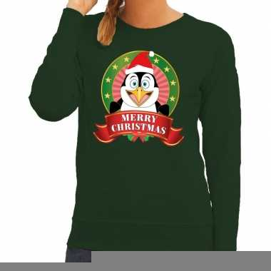 Goedkope foute kersttrui groen met pinguin voor dames