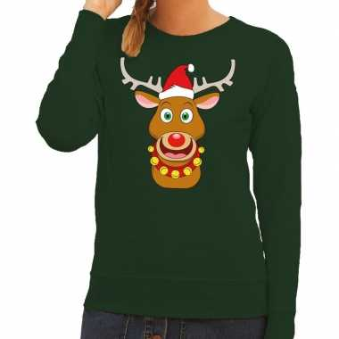 Goedkope foute kersttrui groen met ruldolf het rendier met rode muts