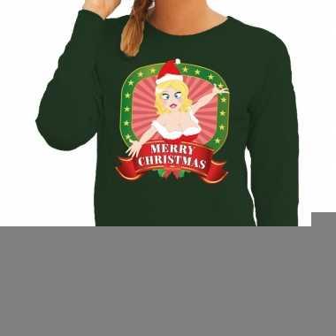 Goedkope foute kersttrui groen met sexy kerstvrouw voor dames