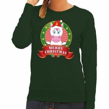 Goedkope foute kersttrui groen met unicorn voor dames