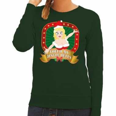 Goedkope foute kersttrui groen touch my jingle bells voor dames