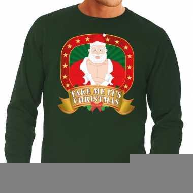 Goedkope foute kersttrui groen vieze kerstman heren