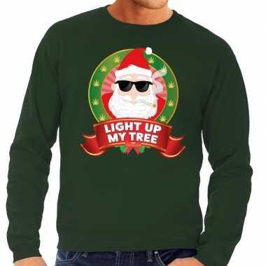 Goedkope foute kersttrui groen wiet rokende kerstman light up my tree