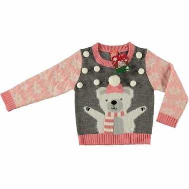 Goedkope foute kersttrui ijsbeer grijs voor kinderen