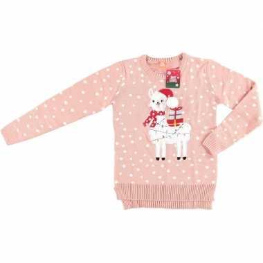 Goedkope foute kersttrui lama/alpaca roze voor vrouwen