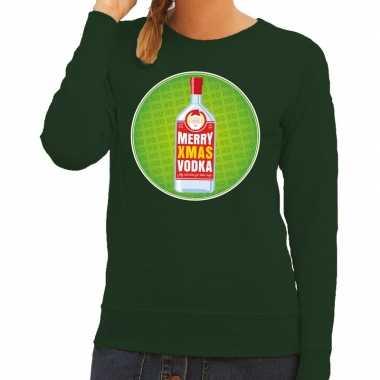 Goedkope foute kersttrui merry x mas vodka groen voor dames