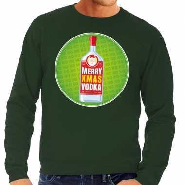Goedkope foute kersttrui merry x mas vodka groen voor heren