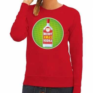 Goedkope foute kersttrui merry x mas vodka rood voor dames