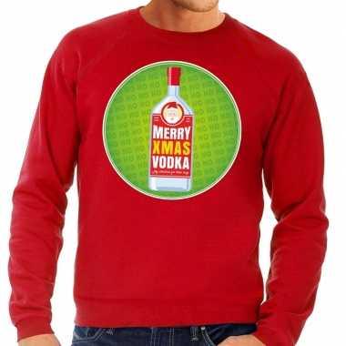 Goedkope foute kersttrui merry x mas vodka rood voor heren