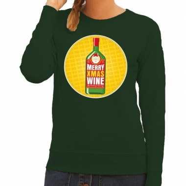 Goedkope foute kersttrui merry x mas wine groen voor dames