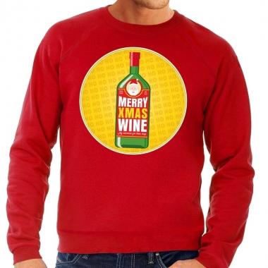 Goedkope foute kersttrui merry x mas wine rood voor heren