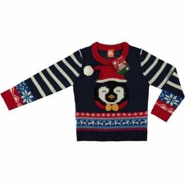 Goedkope foute kersttrui pinguin navy voor kinderen