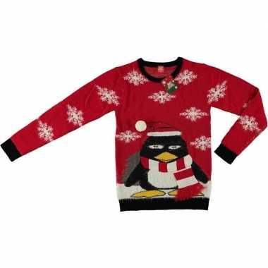 Goedkope foute kersttrui pinguin rood voor volwassenen