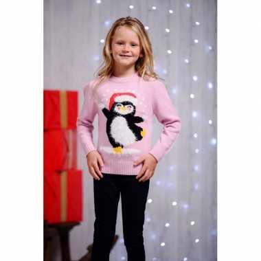 Goedkope foute kersttrui pinguin voor kids