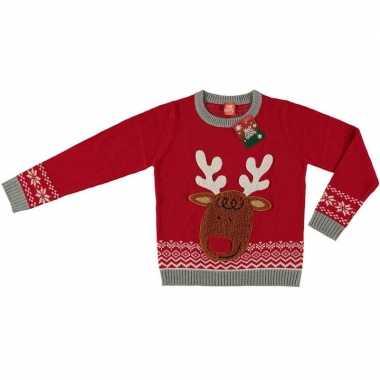 Goedkope foute kersttrui rendier rood voor kinderen