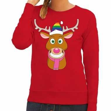Goedkope foute kersttrui rood gay ruldolf regenboog muts en roze sjaa