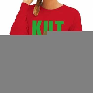 Goedkope foute kersttrui rood kutkerst dames