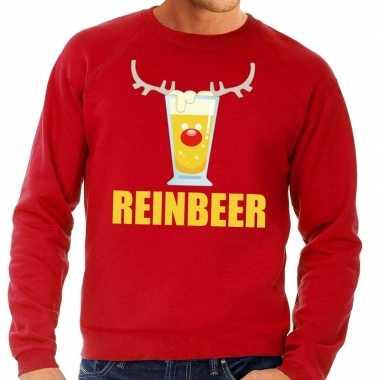 Goedkope foute kersttrui rood met biertje heren