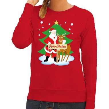 Goedkope foute kersttrui rood met de kerstman en rudolf voor dames