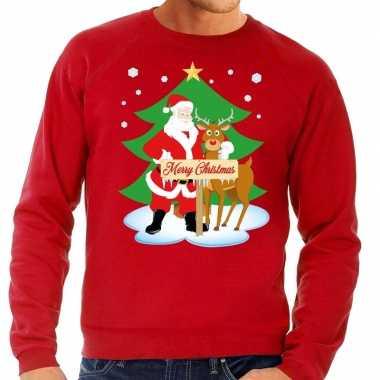 Goedkope foute kersttrui rood met de kerstman en rudolf voor heren