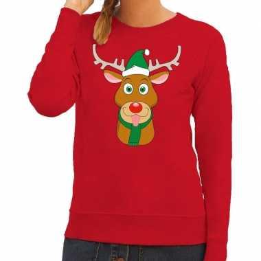 Goedkope foute kersttrui rood met ruldolf het rendier met groene muts
