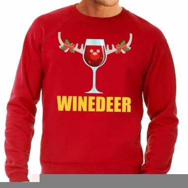 Goedkope foute kersttrui rood met wijntje heren