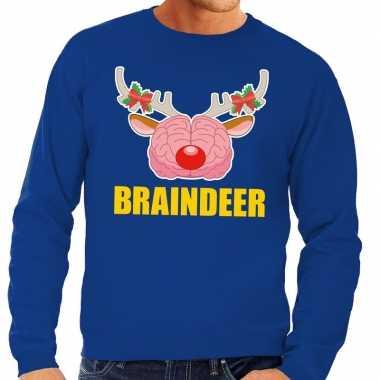 Goedkope foute kersttrui / sweater braindeer blauw voor heren