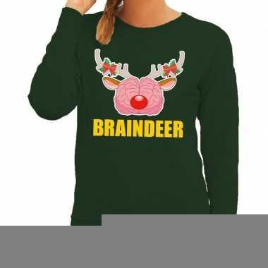 Goedkope foute kersttrui / sweater braindeer groen voor dames